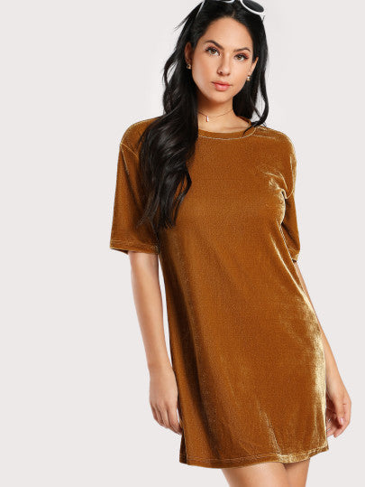 Keeley Velvet Dress - Camel