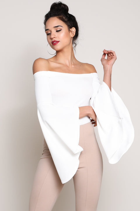 White Off-Shoulder Bell-Sleeve Bodysuit