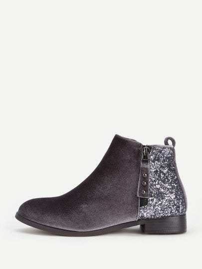Gabrielle Sequined Ankle Boot - Grey