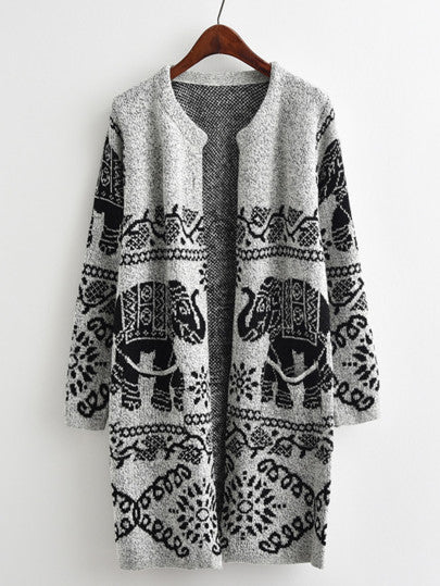 Tribal Elephant Cardigan - Grey & Black