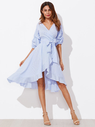 Lily Light Blue Pinstriped Dress with Tie Waist