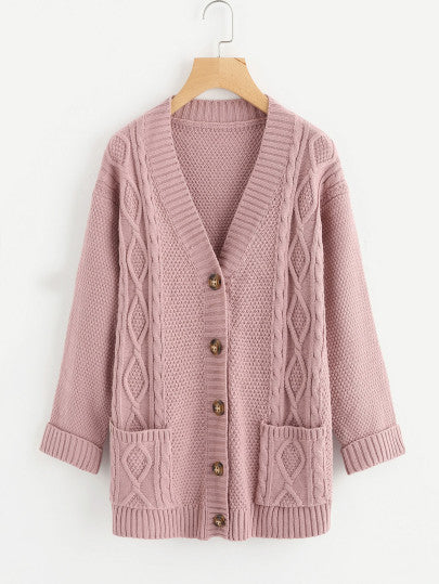 Kayla Cable Knit Cardigan - Rose