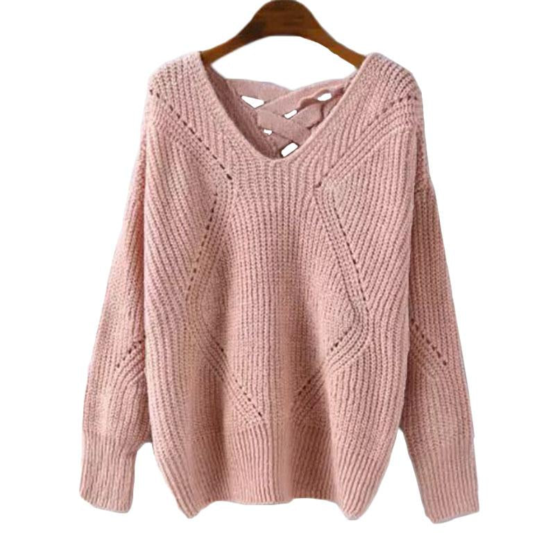 Pink Geometric Lace-Back Sweater
