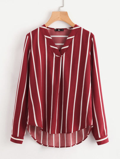 Michele Long-Sleeved Striped Blouse