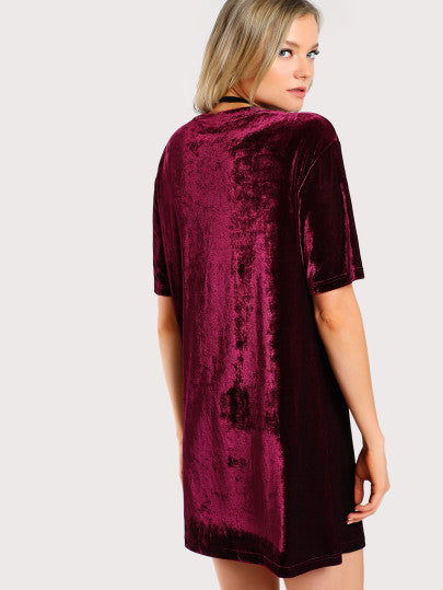 Keeley Velvet Dress - Burgundy