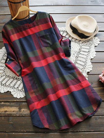 Emily Plaid Rolled-Sleeve Dress
