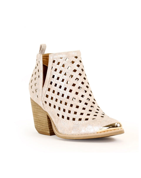 Leighton V-Cut Ankle Boot - Rose Gold