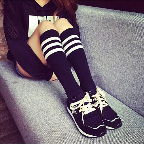 3 Stripe Under The Knee Socks