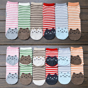 Kawaii Cat Stripe Ankle Socks