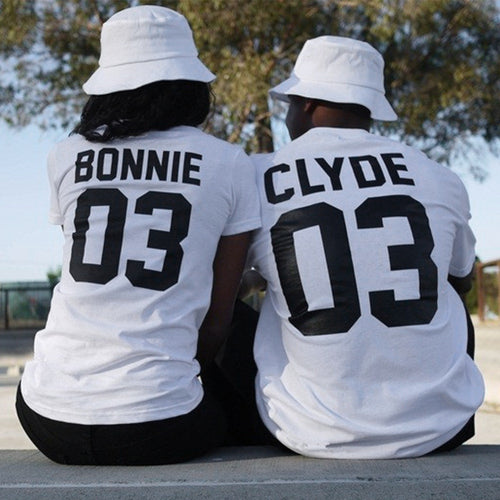 Bonnie & Clyde Matching Couple T-Shirts