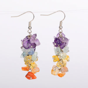 Chakra Gemstone Cluster Earrings