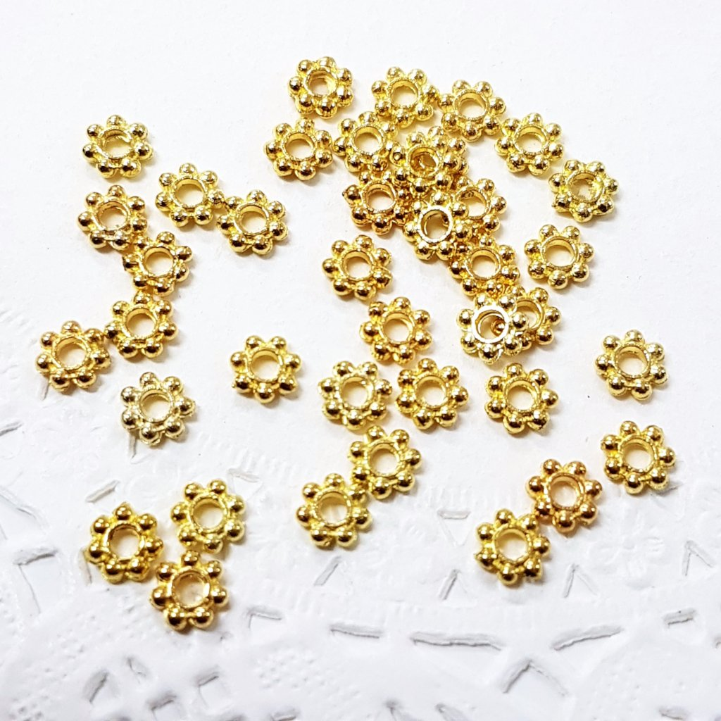 100pc 5mm Gold Daisy Spacers
