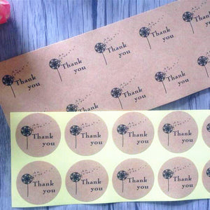 50pc Dandelion Thank You Kraft Stickers