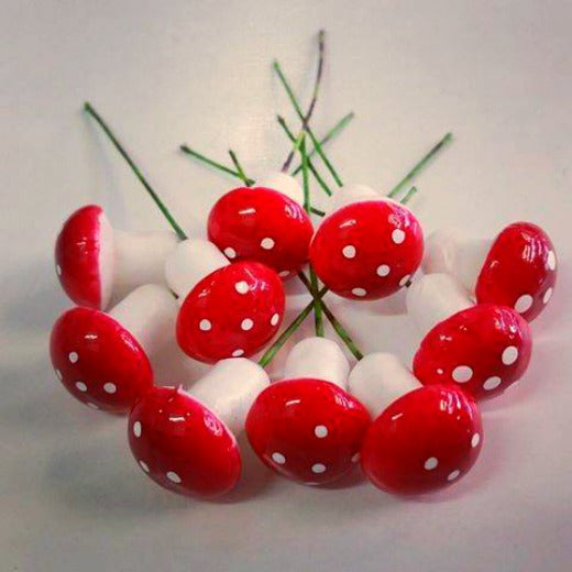 10pc Mini Foam Mushrooms with Stem