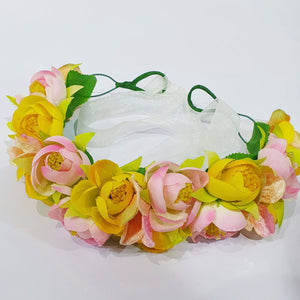 Yellow and Pink Floral Hair Crown