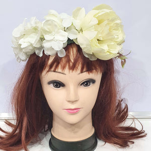 Huge White Statement Floral Hair Crown
