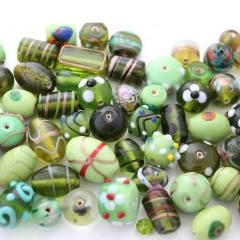 100g Fancy Green Indian Lampwork Mix