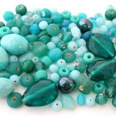 100g Plain Turquoise Lampwork Bead Mix