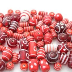 100g Red and White Lampwork Beads