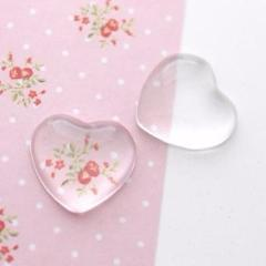 18mm Glass Heart Cabochon