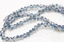 Clear and Blue Crystal Rondelles
