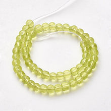 4mm Yellow Green Round Glass Beads