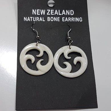 Bone Triple Koru Earrings