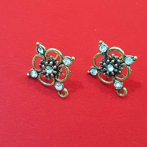 Antique Gold Rhinestone Earring Posts