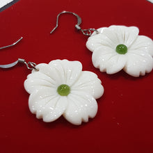 Bone and Jade Flower Earrings
