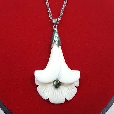 Bone Flower Pendant with Paua