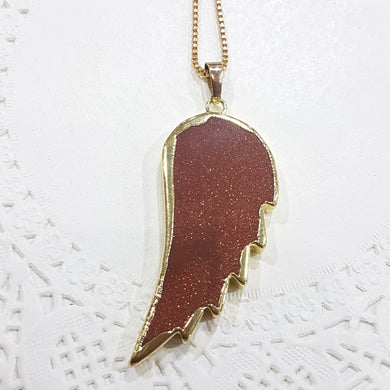 Glittering Goldstone Angel Wing Necklace
