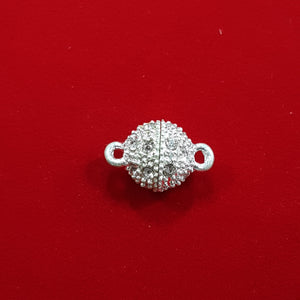 10mm Magnetic Rhinestone Clasp Silver