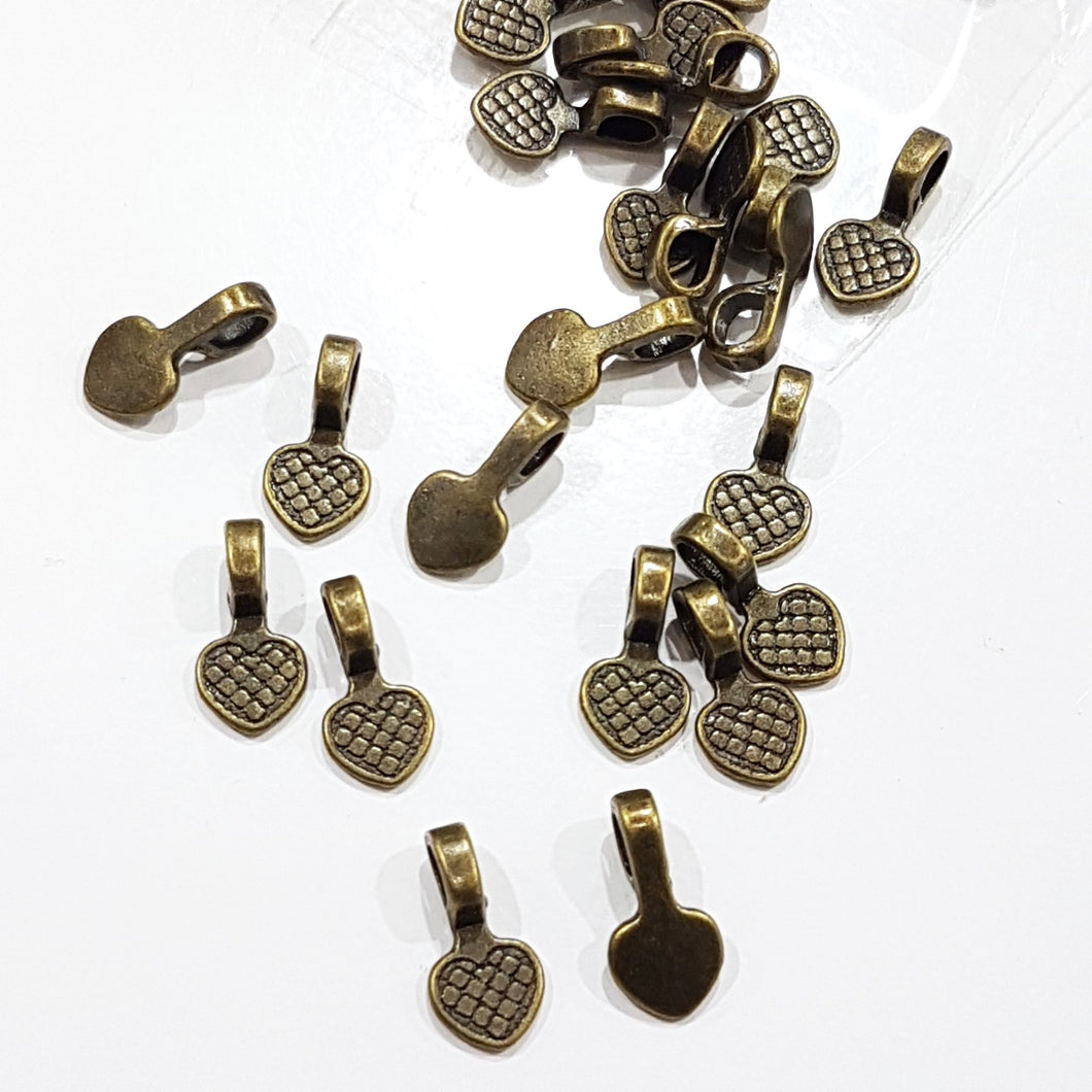 25pc Bronze Heart Glue On Bails