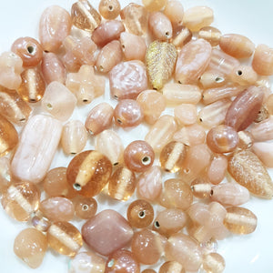 100g Pinky Peach Indian Lampwork Beads