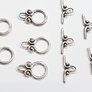 5 Sets Antique Silver Toggle Clasps