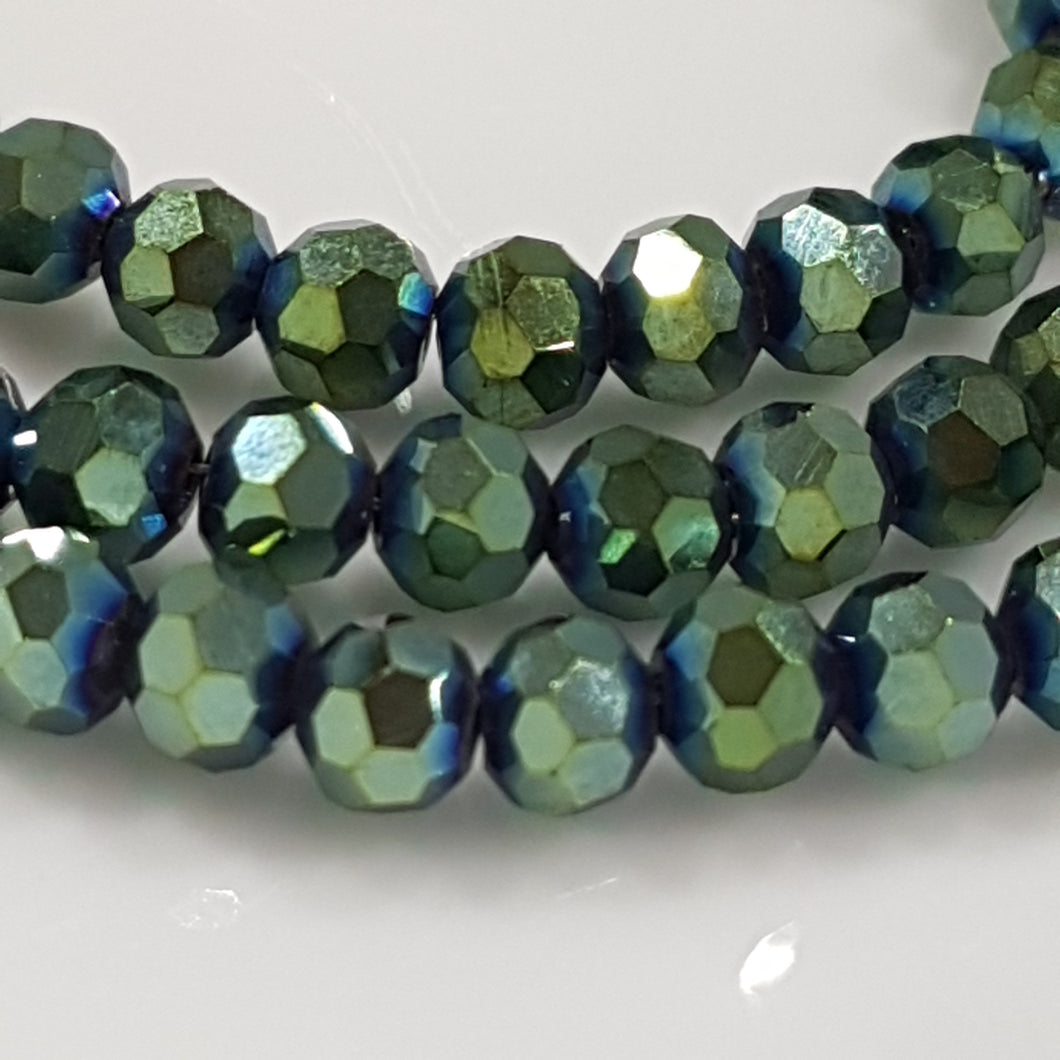Round Electroplated Crystal Beads