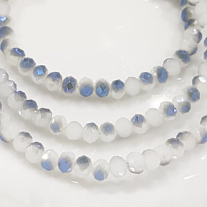 White and Blue Crystal Rondelles