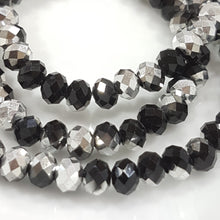 Silver and Black Crystal Rondelles