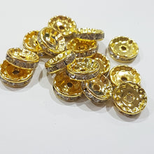 15pc 12mm Gold Rhinestone Rondelles