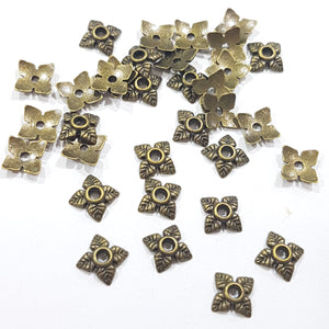 50pc Antique Bronze Bead Caps