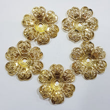 5pc Large Gold Flower Filigree Bead Caps