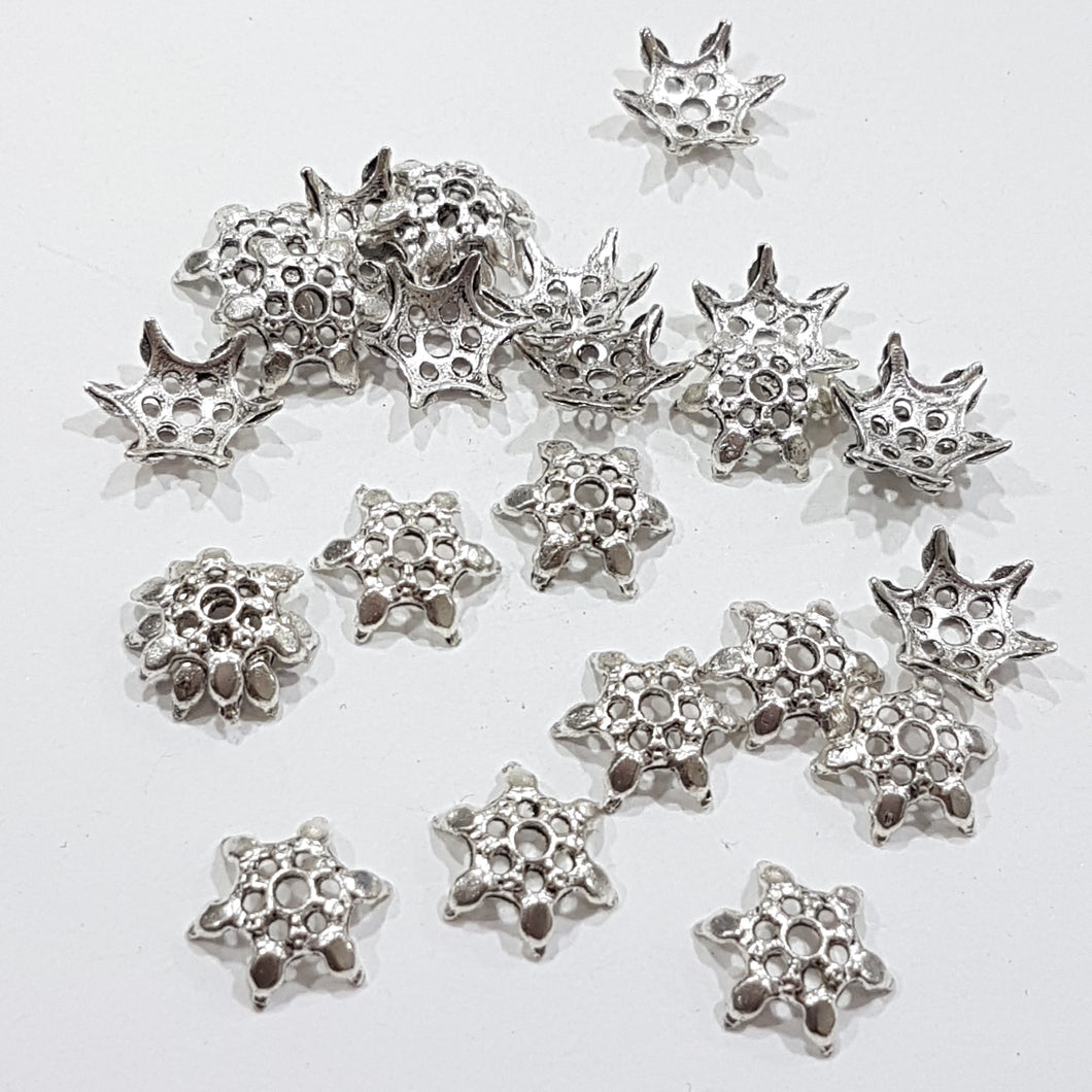 25pc Tibetan Silver Bead Caps