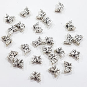 25pc Antique Silver Butterfly Beads