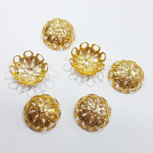 6pc Large Gold Filigree Bead Caps
