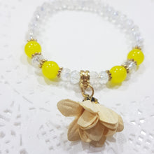 Crystal Glass Yellow Beaded Flower Bracelet