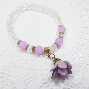 Crystal Glass Beaded Purple Flower Bracelet