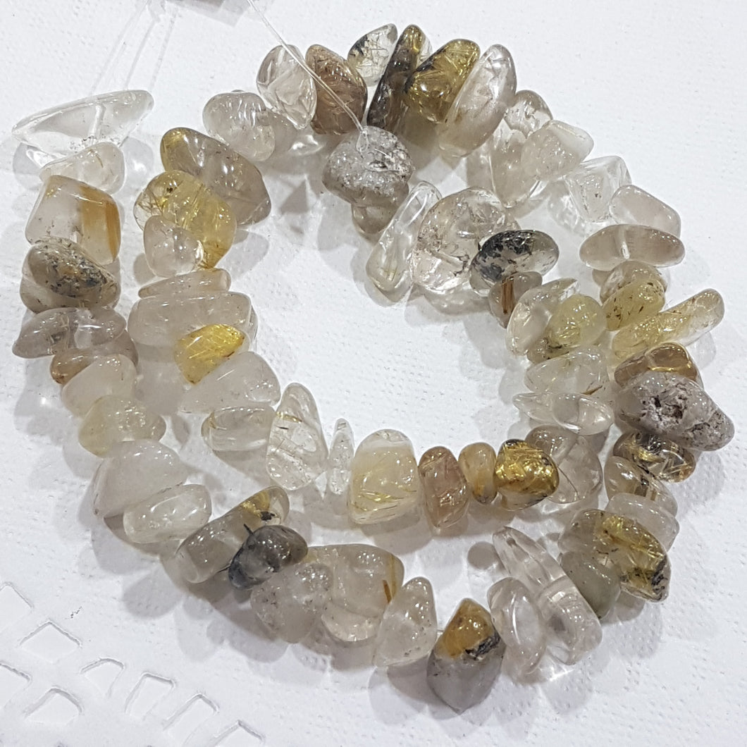 Large Rutilated Quartz Chip Bead Strand