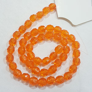 50pc Orange Faceted Acrylic Beads