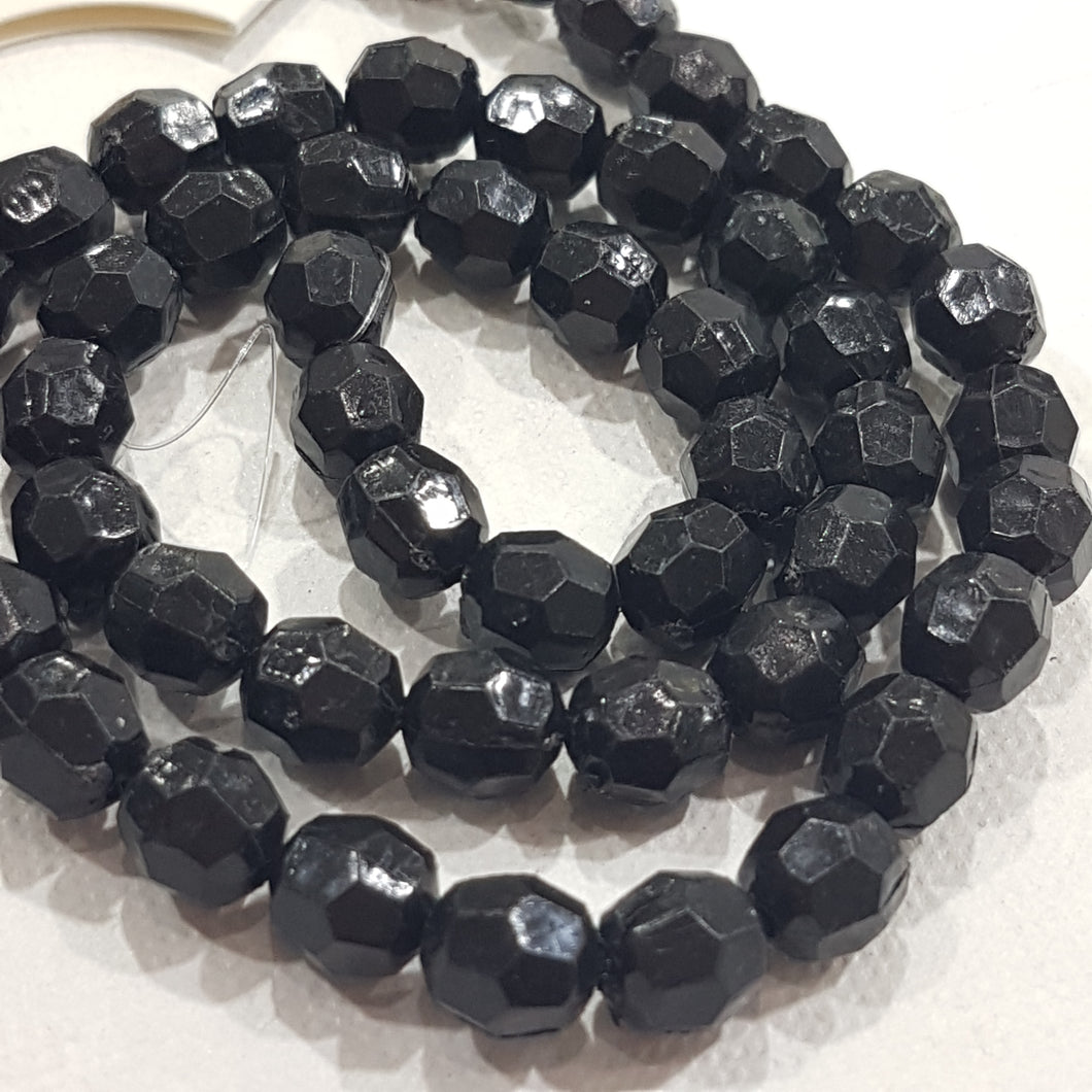 50pc Black Faceted Acrylic Beads