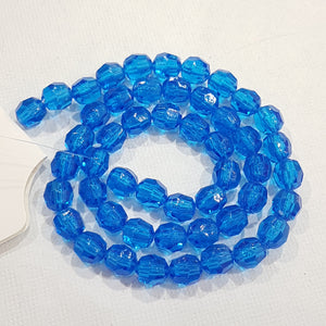 50pc Blue Faceted Acrylic Beads